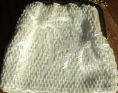 Vintage White Beaded with long  brass chain link  shoulder strap and scalloped edged brass clasp in Near Mint Condition