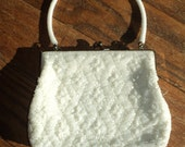 Vintage White Bead Formal Evening Bag Purse with faux Pearl white seed beads and Mother of Pearl beads lined with white satin fabric