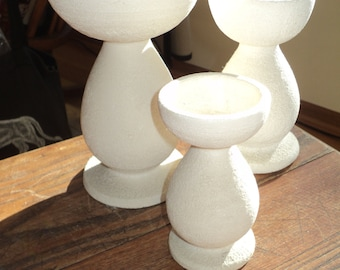 3 Mod Abstract White Glazed Ceramic Candleholders with a wonderful gravel chalk like  finish, in descending sizes, all in Mint Condition