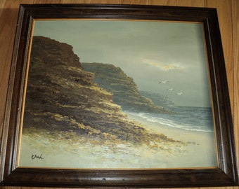 Vintage Original Oil Painting of a Cloudy, Gray Day at the Shoreline along a rocky coastline in Mint Condition, Signed by The Artist NOAH