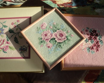 3 Needlepoint Samplers in a Pastel Pink Color Palette in Mint Condition for display or for recycling into pillows or upholstery