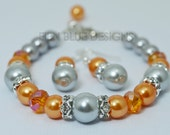 Gray Pearl Bracelet, Gray and Orange Bracelet and Earring Set, Bridal Jewelry, Bold Bracelet, Orange Bridesmaid Jewelry, Custom Made Jewelry
