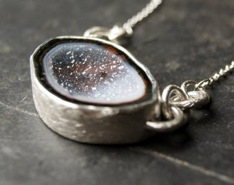 Arctic Blue and Grey Druzy Necklace in Sterling Silver
