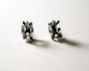 Herkimer Diamond Prong Studs in Oxidized Sterling Silver