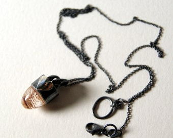 Rutilated Quartz Bullet and Heart Necklace in Sterling Silver...ooak