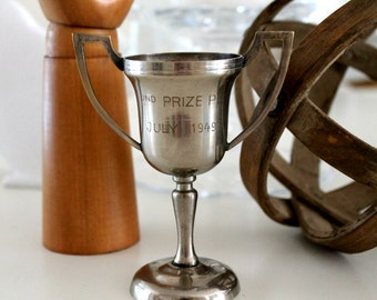 vintage loving cup trophy 2ND PLACE PIE, 1949, small trophy, baking award, farmhouse decor