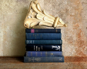 vintage blue book stack for display--instant collection