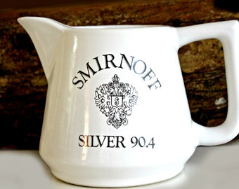 Vintage Smirnoff Silver 90.4 Serving Pitcher, Barware, Vodka Pitcher, Advertising