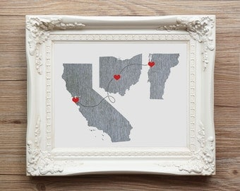 Three States Map Art - Wedding Gift  - Personalized State Heart Natural Series - Custom Location Modern Art Print  Distance