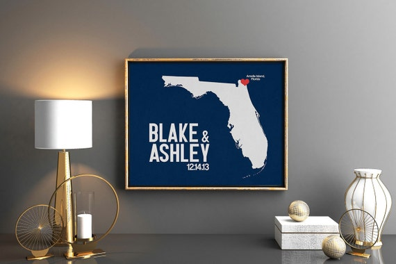 Florida Wedding Gift - Personalized State and Heart - Anniversary - Custom Wedding Date - Location City and State Modern Art Print - 8x10