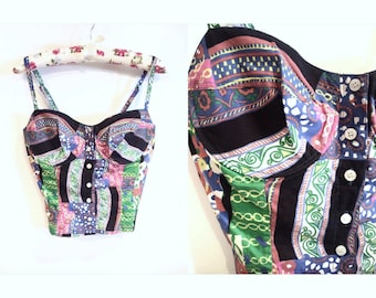 Patterned Button Down Bustier Top S - M