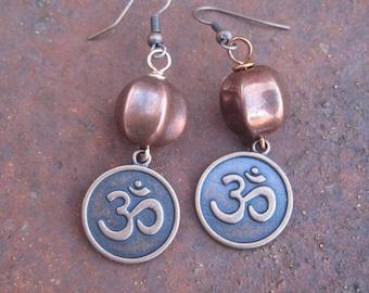 Om Charm Copper Earrings - Spiritual Jewelry - Boho Earrings