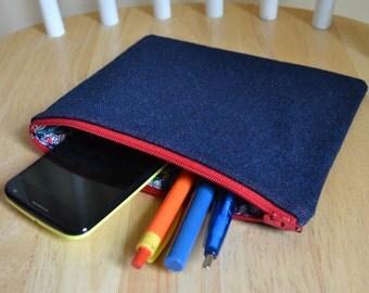 SALE Zipper Pouch Makeup Bag Cosmetic Bag Toiletry Bag Coin Purse All Purpose Pouch Denim Zipper Pouch Clutch Pen Case Gadget Cellphone Bag