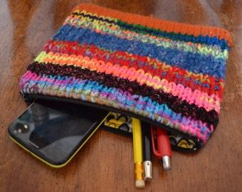 Zipper Pouch Makeup Bag Cosmetic Bag Toiletry Bag Coin Purse All Purpose Pouch Knitted Zipper Pouch Clutch Pen Case Gadget Cellphone Bag