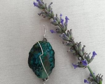 Light Sage Crystallized Moss Agate Pendant