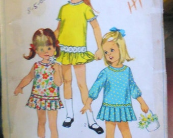 Simplicity 7108 child's dress pattern, pleated skirt dress, breast 22 pattern, child panties pattern, lowered waist dress, waist 20 dress
