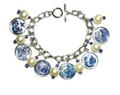 BLUE WILLOW Plate Charm Bracelet Designs Patterns from Vintage China