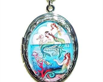 MERMAID Necklace LOCKET Mermaids Friends Pendant Photo Holder Silver Pltd Free USA Shipping