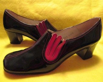 1960's Ladies Black PATENT Chunk Heel Spain Made SHOES by QualiCraft