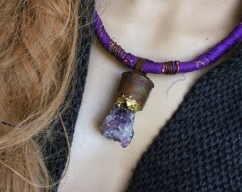 Amethyst cluster necklace | boho pendant, raw amethyst, raw crystal necklace, purple stone