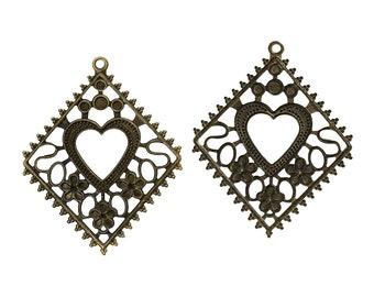10 Bronze Rhombus Pendants - Antique - Heart Pattern - Filigree - 71x55mm - Ships IMMEDIATELY from California - BC798