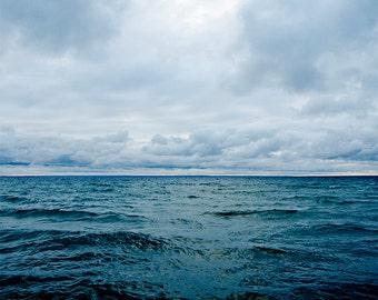 Ocean Photography 8x10, Lake House Decor, Modern Coastal Art, Blue Picture, Sea Photograph