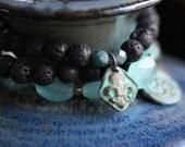 SPRING SALE Black Lava Bracelet, Stack Bracelet, Beaded Bracelet,  Copper Cross Charm, Stretch Bracelet,Rustic, Boho, 8mm Beads, Czech Glass