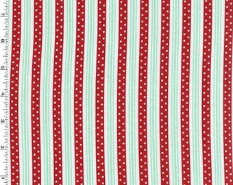 Michael Miller - Retro Florals - Norma - Red/Aqua/White Stripe