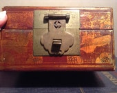 Vintage Chinese lacquered leather hand painted trinket box