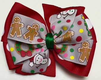 Red Polka Dots Snowmen Reindeer Gingerbread Boys Wreaths Santa HOLIDAY WINTER Christmas Ribbon Bow Handmade for PETS Dog Collar Ac