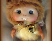 BEIGE Brown Hamster Mouse  Baby,  Cute Baby Doll,  Decoration by Larysa Champagne made to order.