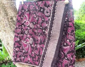 Short Womens Wrap Skirt In Bali Batik, Brown, Tan, Wine Or Sage, Fringe Edge - Ruby - Ethical Fashion