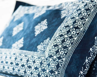 Bed Pillow Sham In Hmong Indigo Batik Natural Cotton Double Sided King Or Standard Bed Pillow Cover ** Free Worldwide Shipping **