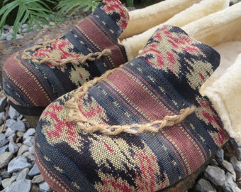 Men's Slippers In Hand Woven Javanese Ikat, Tribal Moccasin Style Plush Lined Vegan House Shoes - Riley