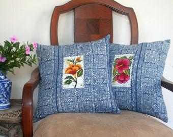 Hmong Indigo Batik Pillow With Sri Lankan Floral Batik Inset 16 Inch Cushion Cover Free Worldwide Shipping