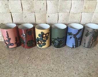 Vintage Set of 6 Multicolored, Glazed amd Hand Painted Saki Glasses