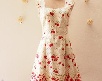 My Strawberry Dress Orchard Garden Dress Ruffle Strap Sweet Tea Dress Cute Dress Party Prom Wedding Dress Sundress -Size XS,S