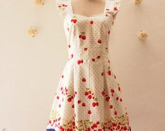 My Strawberry Dress Orchard Garden Dress Ruffle Strap Sweet Tea Dress Cute Dress Party Prom Wedding Dress Sundress Navy -Size XS-XL, Custom