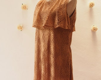 Free Shipping- Vintage Stock Summer Lace Tunic Dress or Blouse, Brown Lace, Boho Bohemian Dress, Beach Dress, Summer Lace Blouse - Size S