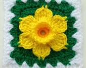 Instant Download crochet PDF pattern - Daffodil in granny square