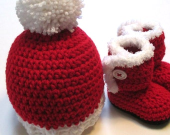 Baby Santa hat and booties set.  Made to order Christmas baby hat and booties.  Red hat and booties for Christmas baby.
