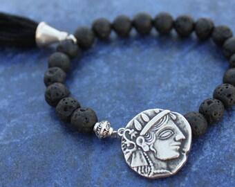 Black Goddess Lava Bead Tassle Bracelet