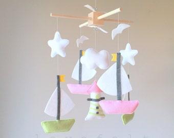 Baby Mobile - Nautical Theme Mobile - Sailboats mobile - baby mobile boats
