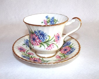 English China Floral Teacup and Saucer, Paragon China Pattern F54e, Bachelor Buttons