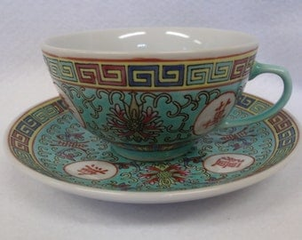 Mun Shou, Famille Rose Teacup and Saucer, Aqua with Red Characters, Longevity