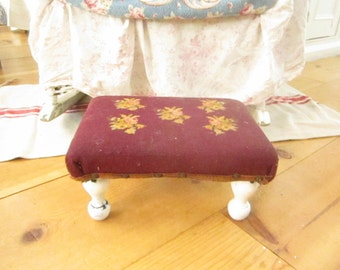 shabby  Needlepoint stool antique roseschippy white legs   victorian prairie shabby chic cottage chic