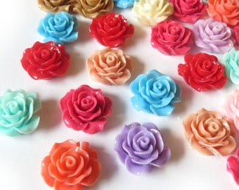 10 Pcs - 20mm Assorted Rose Flower Cabochons