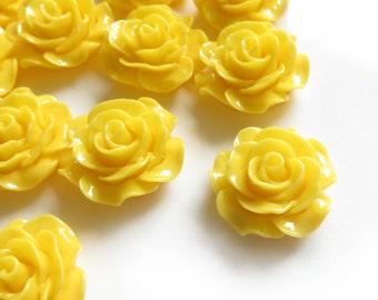 4 Pcs - 20mm Yellow Rose Cabochons