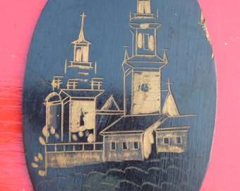 Very old  folk art carved wooden Oval Plaque - Depicts Cracow Cathedral  Poland   -  spelled  KRAKOW WAWEL