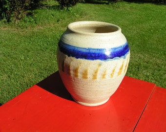 1970s Pottery Vase with COBALT BLUE STRIPE - unmarked but very well done